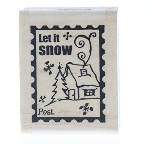 Stampington And Co Let it Snow Post Postage Wood Mount Rubber - Snow Postage