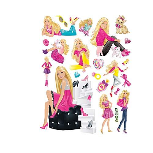 Fangeplus(TM DIY Removable Barbie Doll Girl Room Art Mural Vinyl Waterproof Wall Stickers Kids Room Decor Nursery Decal Sticker Wallpaper 23.6''x17.7''