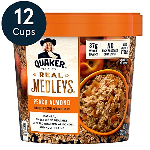 Quaker Real Medleys Oatmeal+, Peach Almond, Instant Oatmeal+ Breakfast Cereal (12 Cups) (Packaging May Vary)