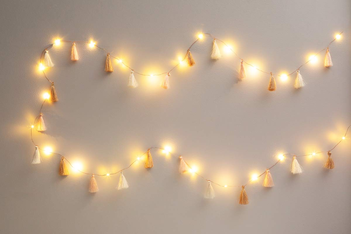 Brightz TasselBrightz LED Light String for Room and Office Décor Rosé Tassels with Warm White LEDs
