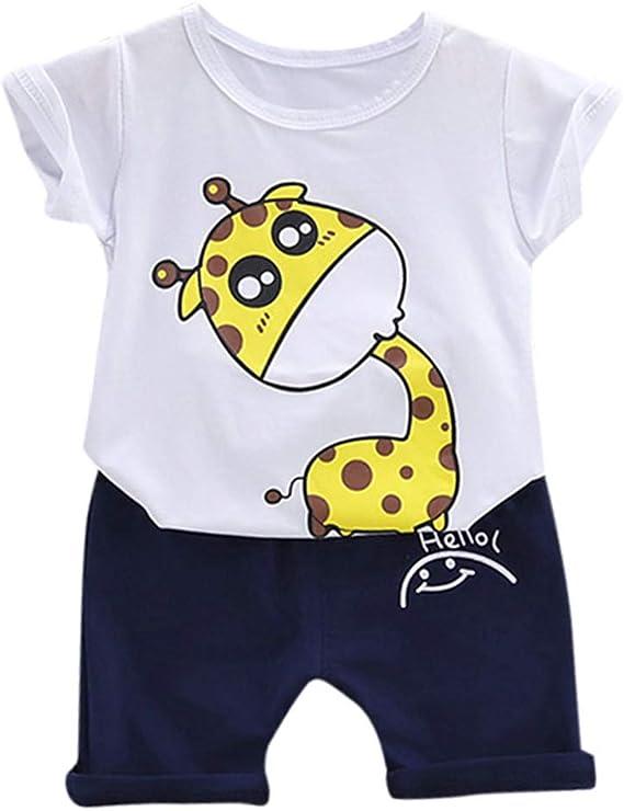 Mbby Bambino Maglietta Manica Corta Giraffa Animale Pantaloncini con Scritte Fumetto Outfits Tuta Maschio Bimbo 0-4 Anni Completo Bambini Estate 2 Pezzi Set Tute Cotone Ragazzo Neonato