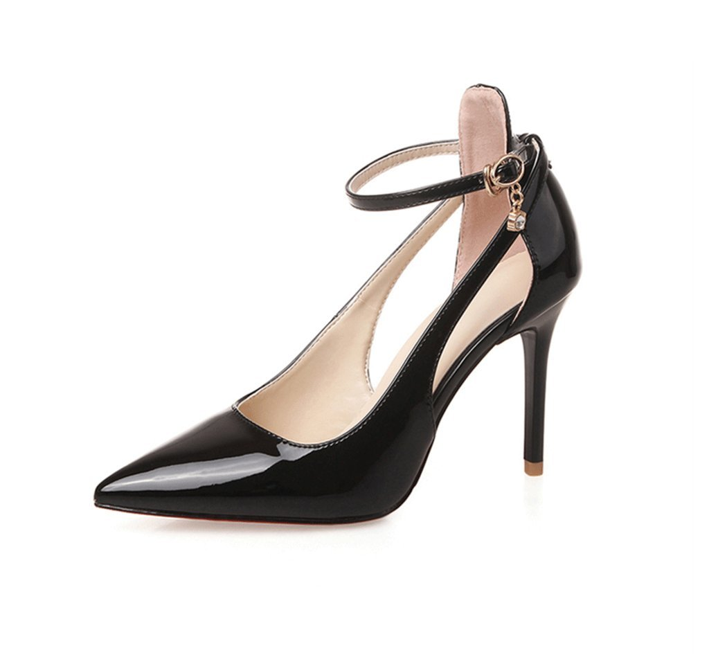 Dream Chaser Black pointed 9cm high heels elegant and comfortable female wedding shoes are thin sexy leather shoes (Color : Black, Size : 38)
