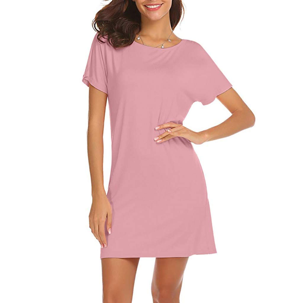 LOPILY Cocktail Evening Gowns Women Casual Solid Above Knee Dress Sleeve Loose Beach Party Mini Dress Work Club Tunics Dress