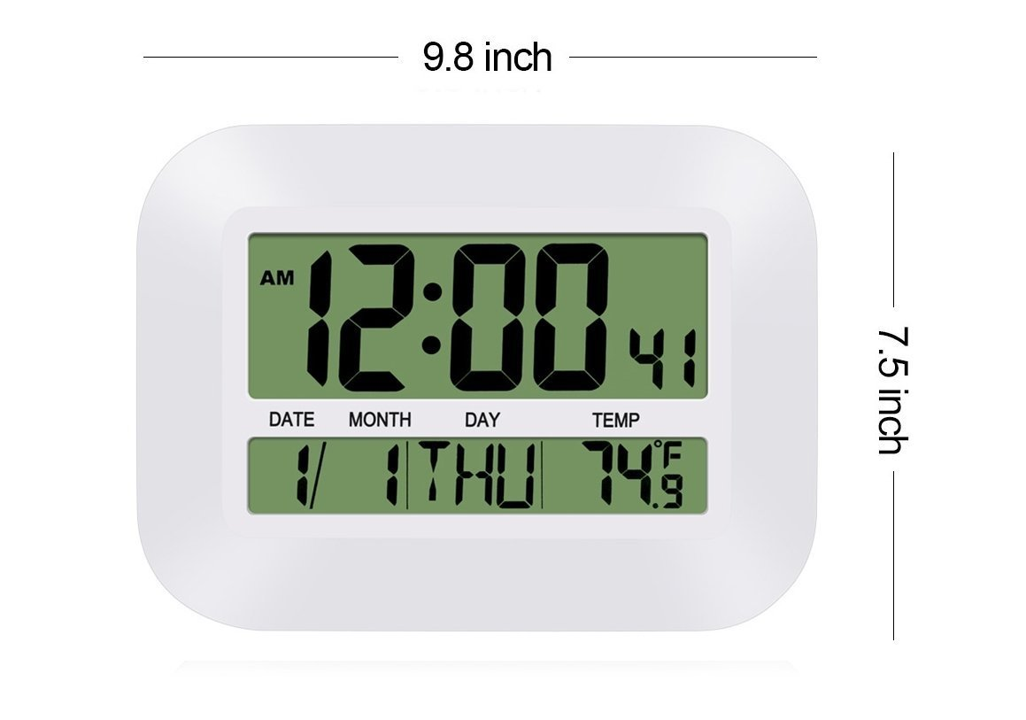 Silent Desk Shelf Clocks, HeQiao Decorative Wall Clock Slim Digital Calendar Day Clock Elderly Large LCD Alarm Clock Battery Operated Temperature Snooze Clock for Home Office (12 Inch, Ivory White)