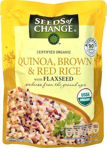 Seeds of Change Organic Quinoa Brown & Red Rice with Flaxseed MICROWAVE POUCH -- 8.5 oz - 3PC