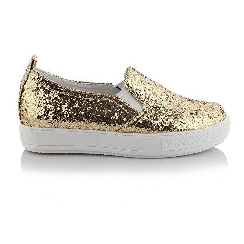 Amoonyfashion Donna Materiali Misti Tacchi Gattino Tondo Punta Chiusa Solido Tira Su Pompe-scarpe Oro