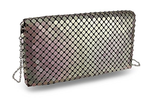 Vinyl Womens Clutch Handbags Brown (Mesh Metallic Evening Bag)