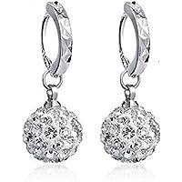 18K White Gold Filled Crystal Rhinestone Hoop Earrings Womens by Preciastore