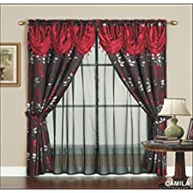 "Victorian Style Camila Jacquard Curtain Set 120""x84"" Burgundy 2 Panel Drapes with sheer backing, Valance Window Treatment Drapery & Tie Backs"