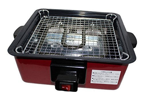 WANG GRILL Electric BBQ YAKITORI TERIYAKI Steak Barbecue Grill Indoor / Outdoor Square Shape Stainless Steel 1000 WATT, Compact Size 9x4x9 inch Best for 1,2 Person