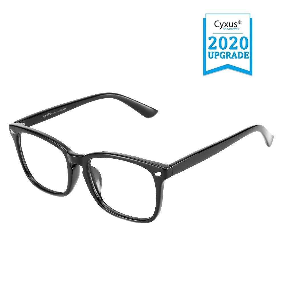 Cyxus Blue Light Blocking Glasses for Computer Use, Women/Men UV Filter Eyewear, Square Eyeglasses Frame, Anti EyeStrain Headache(8082T01, Lightweight Black)