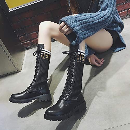 Shukun Stiefeletten Stiefel weibliche Herbst gerade hohe hohe hohe Stiefel Stretch dünne Beine dick mit Ritter Stiefel 8814ea