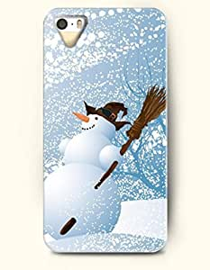 OOFIT Phone Case design with Smiling Snowman Holding a Broom in a Whirling Snow Day for Apple iphone 5 5s 5g