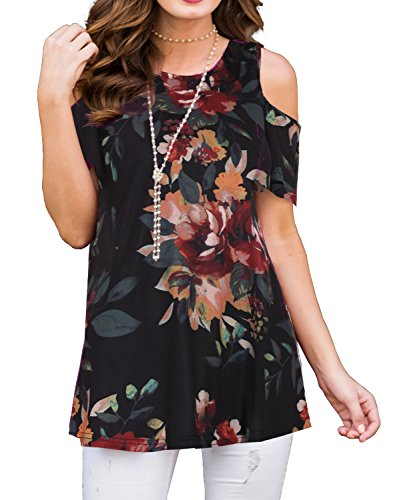 PrinStory Women's Short Sleeve Casual Cold Shoulder Tunic Tops Loose Blouse Shirts Floral Print Brown Flower Black ()