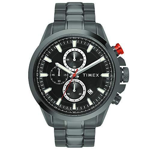 Timex E Class Surgical Steel Charge Chronograph Analog Black Dial Men #39;s Watch TWEG19301