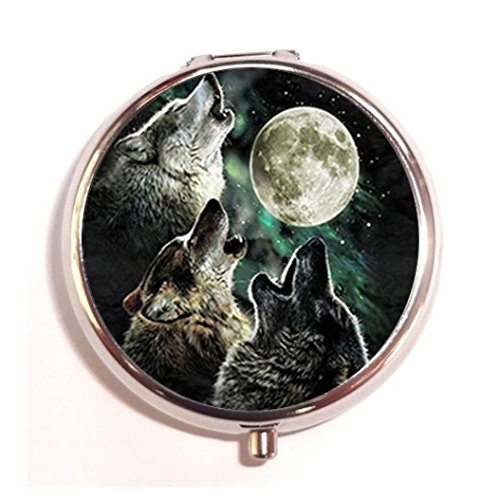 (Wolf Fashion Custom Round Silver Pill Box Pocket 2.1 inches Medicine Tablet Holder Organizer Case for Purse)