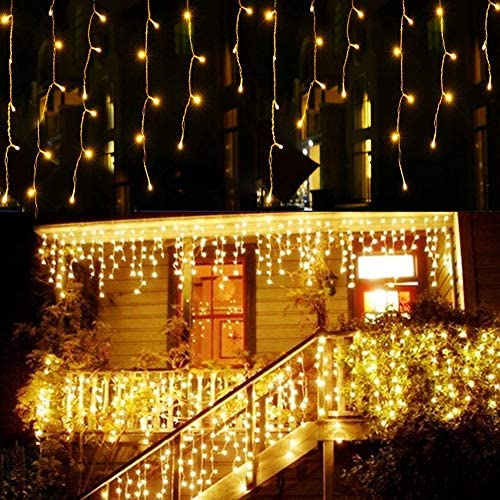 GreenClick LED Icicle Lights,32.8ft x 2.6ft 480 LED String Lights Plug in with Remote 8 Modes for Christmas Wedding Party Family Patio Lawn Decoration Warm White