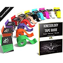 Physix Gear Sport Kinesiology Tape with Free Illustrated E-Guide - 16ft Uncut Roll - Best Pain Relief Adhesive for Muscles, Shin Splints, Knee & Shoulder - 24/7 Waterproof Therapeutic Aid