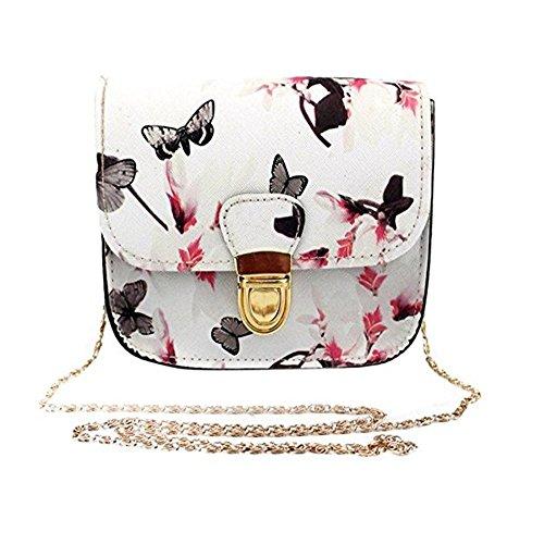 DWE Womens Fashion Shoulder Bags, Girl Women Butterfly Flower Printing Handbag Shoulder Tote Messenger Bag (white)