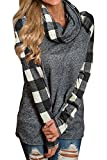 Brilanter Womens Turtleneck Tops Plaid Cowl Neck Patchwork Shirts Oversized Tunic Long Sleeve Pullover