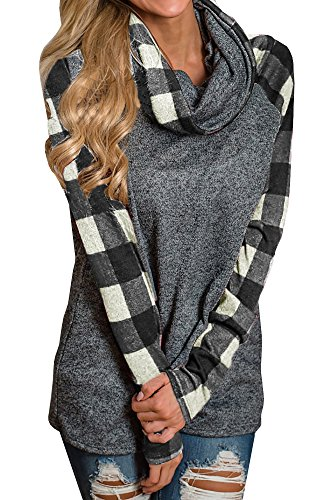 (PASLTER Womens Fall Oversized Cowl Neck Sweatshirts Long Sleeve Plaid Tunic Tops Patchwork Pullover)