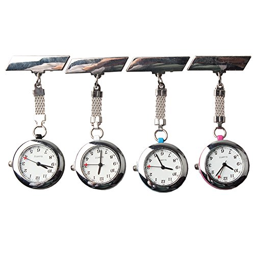 Steel Crystal Nurse Lapel Watch Doctor Paramedic Tunic Brooch Quartz FOB Pocket Watch (Pack of 4)