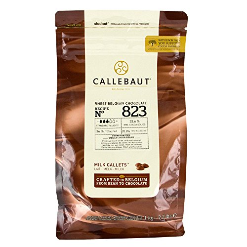 Callebaut Recipe No. 823 Finest Belgian Milk Chocolate with 33.6-Percent Cacao, 21.8-Percent Milk, 2.20 Pound