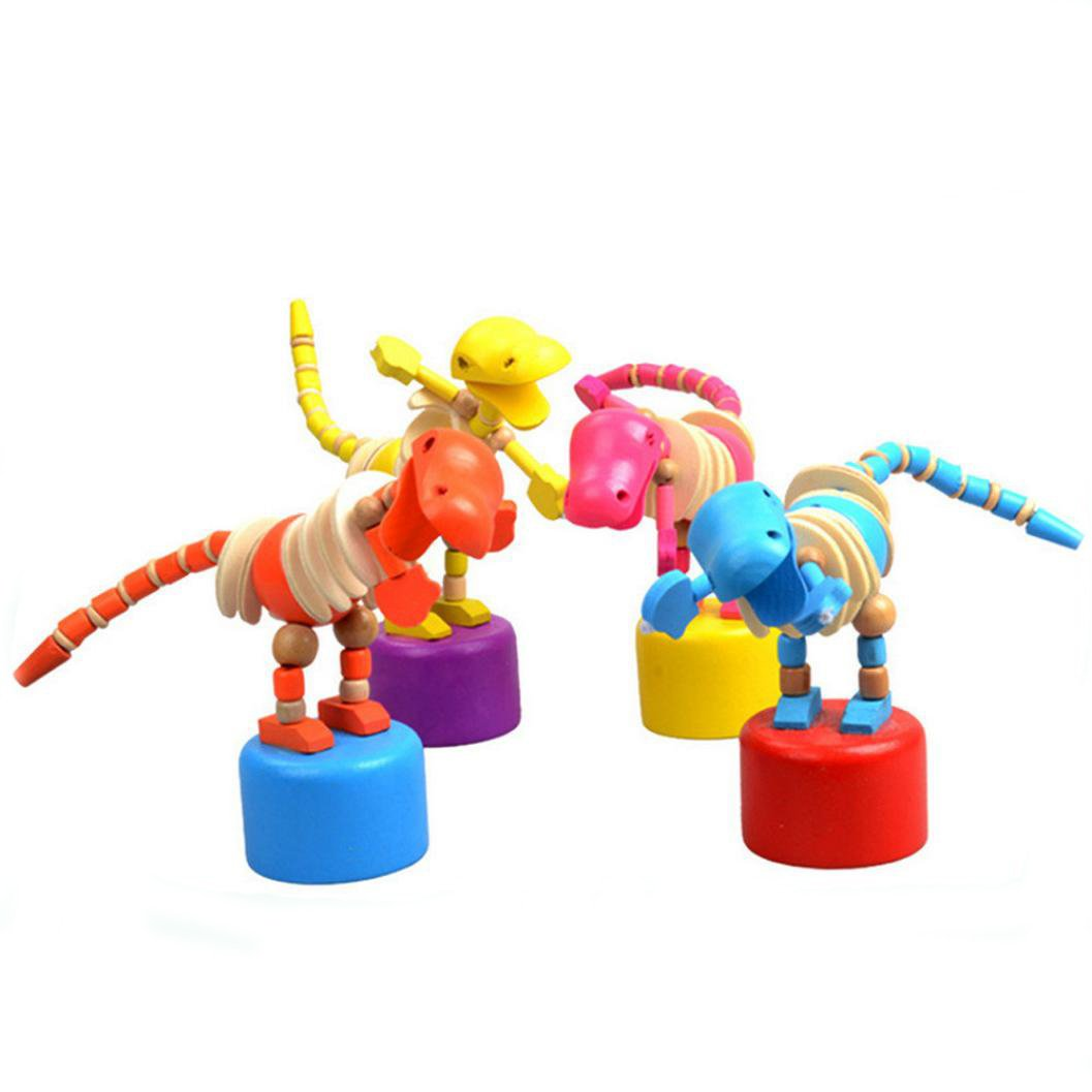 E-SCENERY Colorful Wooden Dancing Rocking Dinosaur Toy for Kids Baby Toddlers, Colorful Intelligence Educational Toy Home Decor (Random Color)