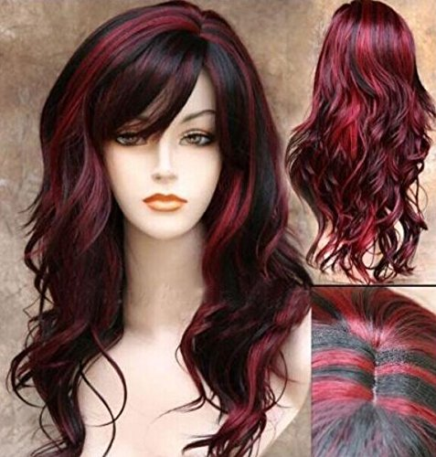 Sceret Synthetic Women Curly Wavy Black with Wine Cosplay Party Long Hair Full Wig (Easy Pinup Hair)