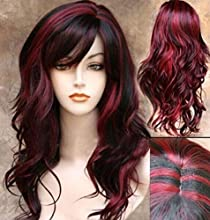 Sceret Synthetic Women Curly Wavy Black with Wine Cosplay Party Long Hair Full Wig