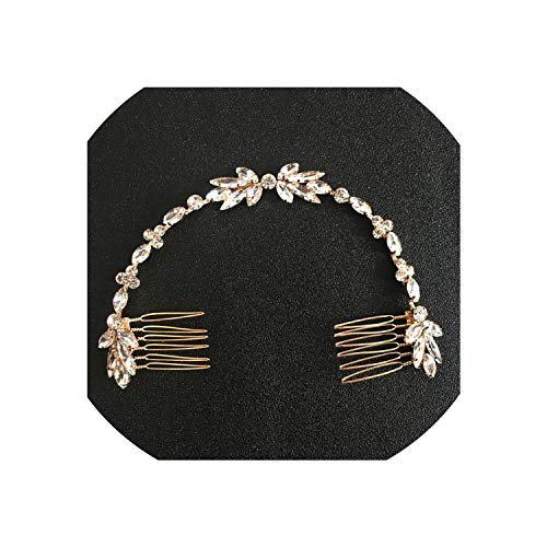 (Wired Crystal Rhinestones Wedding Hair Comb Chain Hair accessories Hairband Bridal Headband Bridesmaids Jewelry Women,Gold)