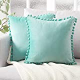 turquoise throw pillow  Decorative Throw Pillow Covers with Pom Poms Soft Particles Velvet Solid Cushion Covers 18 X 18 for Couch Bedroom Car, Pack of 2, Teal