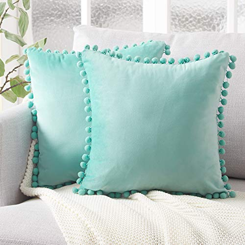 Top Finel Decorative Throw Pillow Covers with Pom Poms Soft Particles Velvet Solid Cushion Covers 18 X 18 for Couch Bedroom Car, Pack of 2, Teal