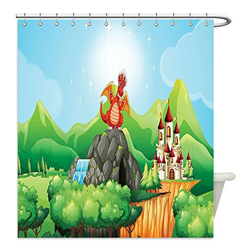 Liguo88 Custom Waterproof Bathroom Shower Curtain Polyester Cartoon Decor Fantasy Dragon on Waterfall Cave by Castle Fiction Fairy Kids Myth Illustration Multi Decorative bathroom - Zelda Cave Dog Costume