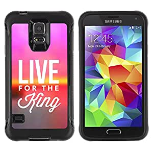 iDesign Rugged Armor Slim Protection Case Cover - LIVE FOR THE KING - Samsung Galaxy S5