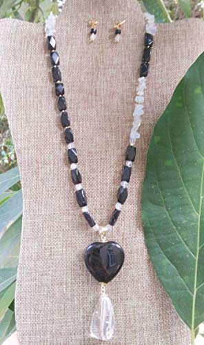 Faceted onyx, Moonstone, Obsidian, Rock quartz. Handmade, Gemstone, Necklace. Include gold plated earrings
