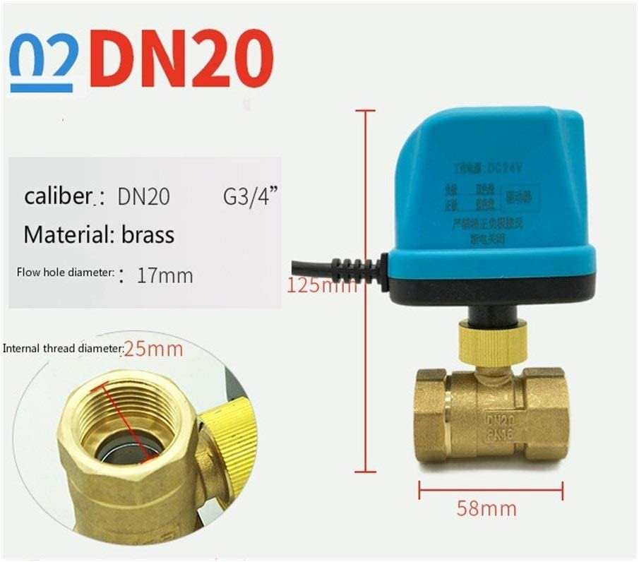 Specification : DN40 Electric Ball Valve Brass Motorized Ball Valve Switch typeTwo lines normally closed electric two-way valves DC24V DN15-DN50 Inlet
