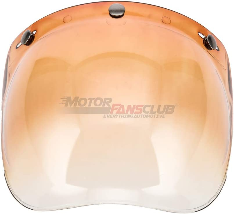 Pink, One Size MotorFansClub Universal 3-Snap Bubble Visor Shield for Street Bike Motorcycle Helmet with Removable Flip Adapter Open Face Helmet Accessories