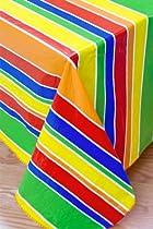 Festive Stripe Flannel Backed Vinyl Tablecloth, 52x70 Oblong (Rectangle)