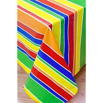 Festive Stripe Flannel Backed Vinyl Tablecloth, 60 Inch Round [Kitchen]