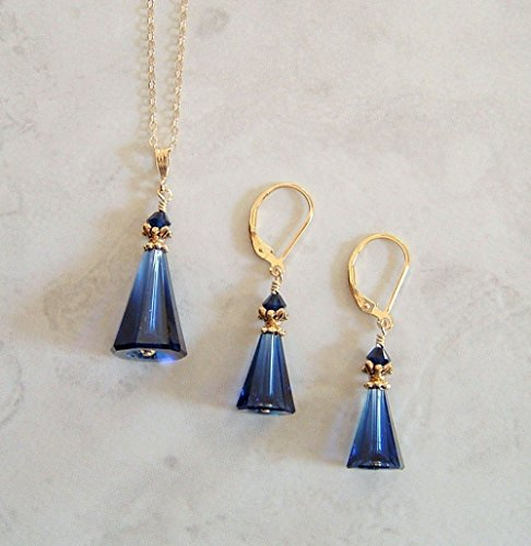 Dark Navy Blue Cone Gold Filled Earring Necklace Set Simulated Sapphire Made w/ Swarovski Crystals Gift Idea (Earring Rhinestone Filled Necklaces Crystal)