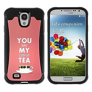 Fuerte Suave TPU GEL Caso Carcasa de Protección Funda para Samsung Galaxy S4 I9500 / Business Style My Cup Of Tea Peach Pink Love Text Valentines