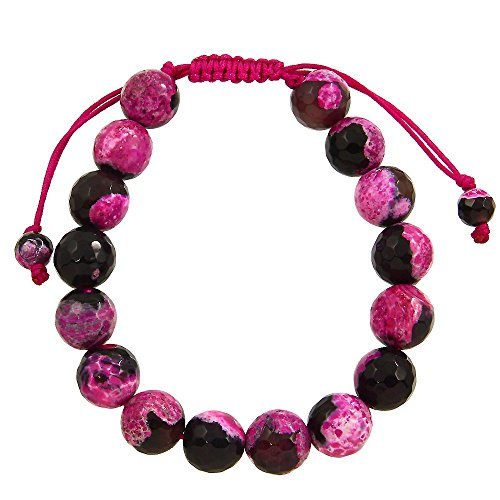 Falari Natural Stone Shamballa Style Bracelet (Black Mix Fuchsia Agate)