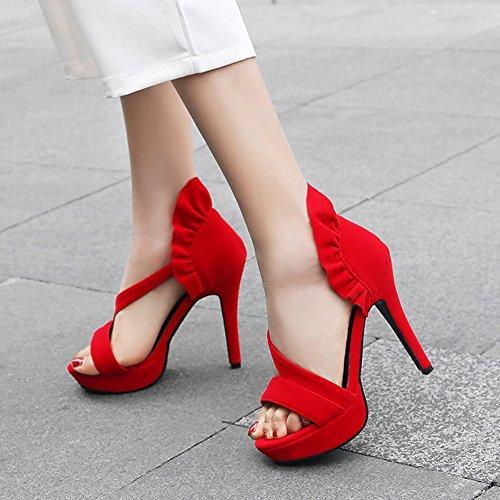 Festa Sandalo Donne Tacco Rosso Punta Nozze Sera Aperta Il Sexy Pompa Alto Grosso Della Da Convenzionale Delle Btrada Per Di Piattaforma Scarpe IwzYFHfxqq