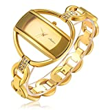 Fashion Women Gold Crystal Bangle Watch Ladies Luxury Wrist Quartz Watches