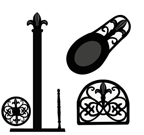 Deluxe Cast Iron Fleur De Lis 3pc Kitchen Table Décor Set, Napkin Holder, Paper Towel Stand, Spoon Rest - Black (Paper Towel Stand Set)