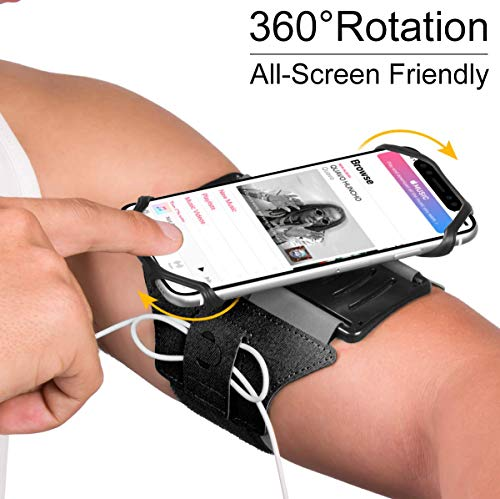 VUP Running Armband for iPhone 11 Pro Max X XR XS 8 7 6 6s Plus,Galaxy S10 S9 S8 Plus, Note 9/8/5/4,Google Pixel 3/2 XL,180°Rotatable with Key Holder Phone Armband for Hiking Biking Walking(Black)