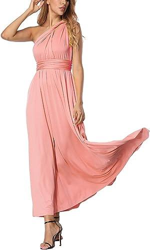 TALLA L(ES 44-46). FeelinGirl Mujer Vestido Maxi Convertible Espalda Decubierta Cóctel Multiposicion Tirantes Multi-Manera Largo Falda para Fiesta Ceremonia Sexy y Elegante Rosa L(ES 44-46)