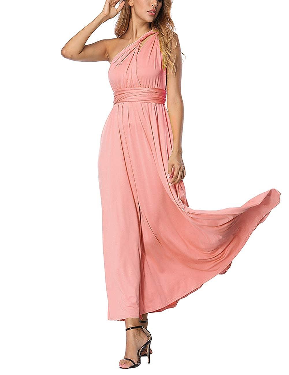 TALLA M(ES 40-44). FeelinGirl Mujer Vestido Maxi Convertible Espalda Decubierta Cóctel Multiposicion Tirantes Multi-Manera Largo Falda para Fiesta Ceremonia Sexy y Elegante Rosa M(ES 40-44)