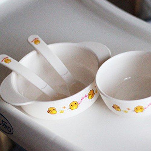 Befaith Juego de vajilla para niños de 5 piezas Bambú ecológico Diseño de pollo sin BPA